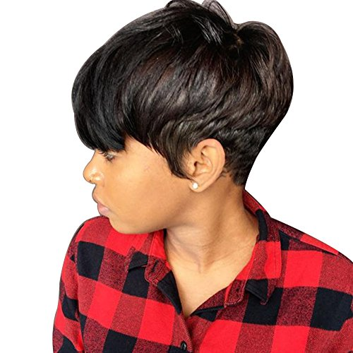 lightclub Fashion Black Short Human Hair Wig Hairpiece Men Women Cosplay Costume Prop Gift Wig for Party Cosplay Club Bar Festival Christmas Halloween Costume Black ()