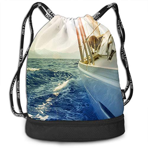 Gymsack Sailboat Sunshine Print Drawstring Bags - Simple Hiking Sack