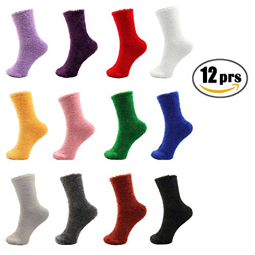 12 Pairs Assorted Super Soft Warm Microfiber Cozy Home Socks- Assorted Colors, 9-11