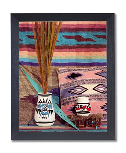 American Southwestern Native Pottery (Solid Wood Black Framed Southwestern Native #1 American Indian Pottery Pictures Art Print)