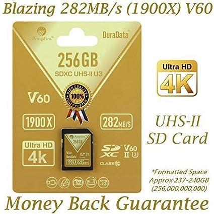 Amplim 256GB UHS-II SDXC SD Card. Blazing Fast Read 282MB/S (1900X). Class 10 U3 Ultra High Speed V60 UHSII Extreme Pro SD XC Memory Card. 4K 8K ...