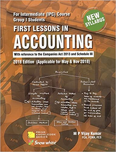 Snow White Publication's First Lessons In Accounting For CA Intermediate [IPCC] Group I May & Nov 2018 Exam by M.P. Vijay Kumar