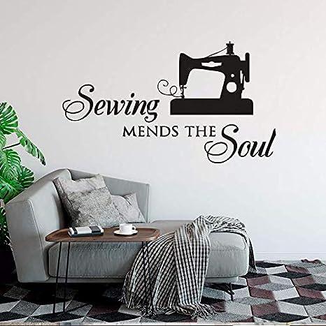 Reparación de costura soul wall decal hembra sastre etiqueta de la pared tienda de costura decoración desmontable ...