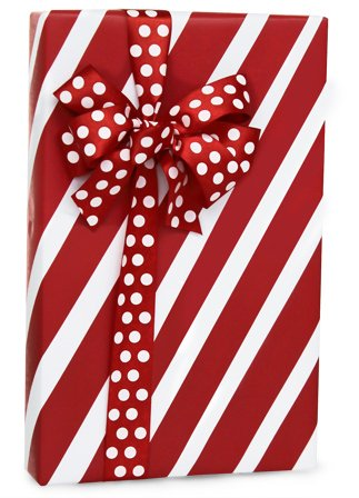 (Red & White PEPPERMINT STRIPE Christmas Gift Wrap Wrapping Paper - 16ft Roll)