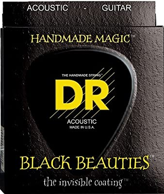 DR Strings Acoustic Guitar Strings, Black Beauties - Black Coated, 12-54 by DR Music