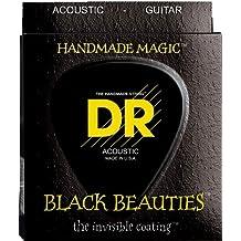 DR Strings Acoustic Guitar Strings, Black Beauties-Black Coated, 10-48