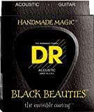 DR Strings Acoustic Guitar Strings, Black Beauties - Black Coated, 12-54