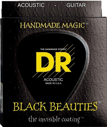 DR Strings Acoustic Guitar Strings, Black Beauties-Black Coated, 10-48 BKA-10
