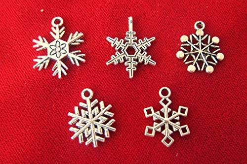 Lot of 30pc Snowflake Jewerly Making Charms Supplies DIY for Necklace Bracelet and Crafting by CharmingSS ()