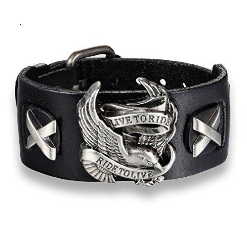 (fat cat sales Live to Ride Wide Leather Biker Bracelet (Black))