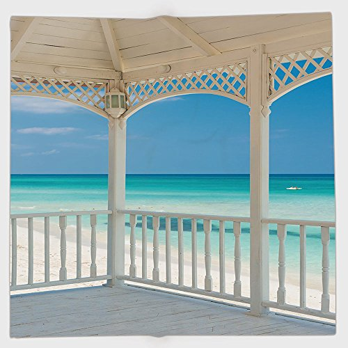 Cotton Microfiber Hand Towel,White Decor,Varadero Beach in Cuba from a Wooden Seem Terrace Image,White Light Blue and Turquoise,for Kids, Teens, and Adults,One Side ()