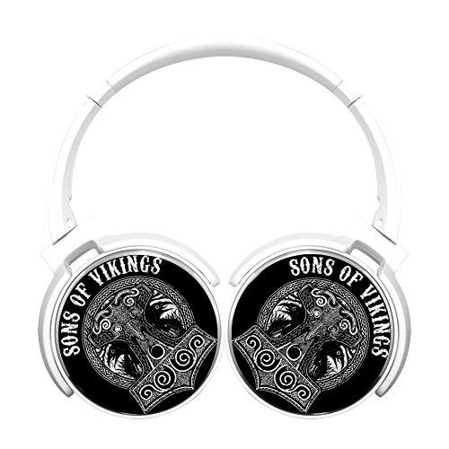 (MagicQ Sons of Vikings Skull Bluetooth Headphones,Hi-Fi Stereo Earphones White)