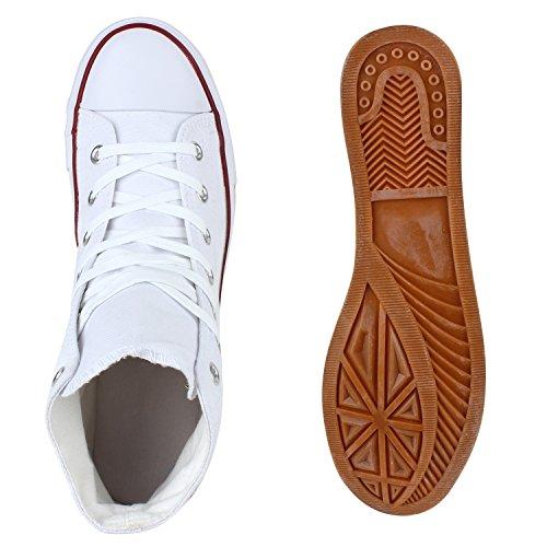 Stiefelparadies Freizeit Herren Sneakers High Canvas Flandell Weiss Rot