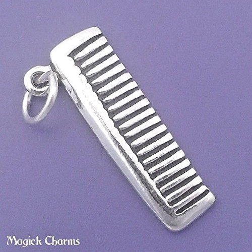 925 Sterling Silver 3-D Hair Comb Charm Pendant Jewelry Making Supply, Pendant, Charms, Bracelet, DIY Crafting by Wholesale Charms