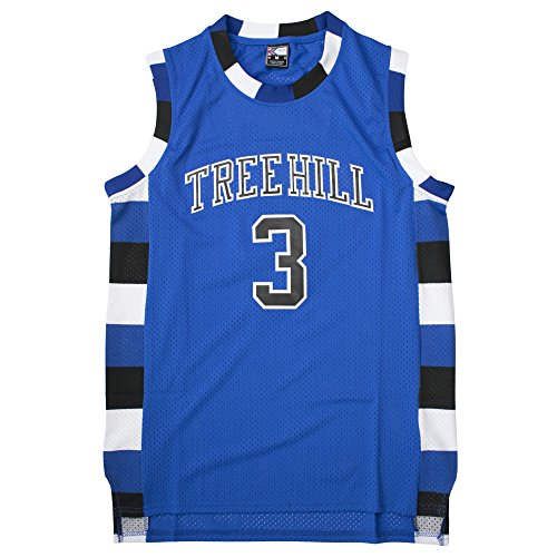 MOLPE Lucas Scott #3 Tree Hill Ravens Basketball Jersey S-XXXL Blue (XL) (Tree Hill Ravens Jersey)