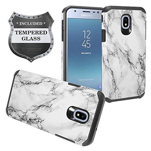 Z-GEN - Galaxy J3 2018 J3 Star/Achieve/Aura/Orbit, Sol3, Express Prime 3, Amp Prime 3, J3 V J3V 3rd Gen J337 - Hybrid Image Case for Samsung + Tempered Glass Screen Protector - AD1 White Marble