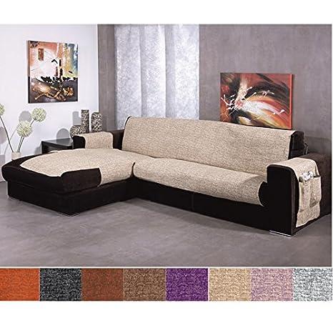 Jarrous Funda Cubre Chaise Longue Modelo Comino, Color Blanco-Negro, Medida Brazo Derecho – 240cm (Mirándolo de Frente)