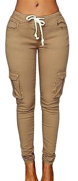 efca2638025e Cruiize Womens Casual Stretch Drawstring Skinny Solid Cargo Jogger Pants  Light Khaki X-Small