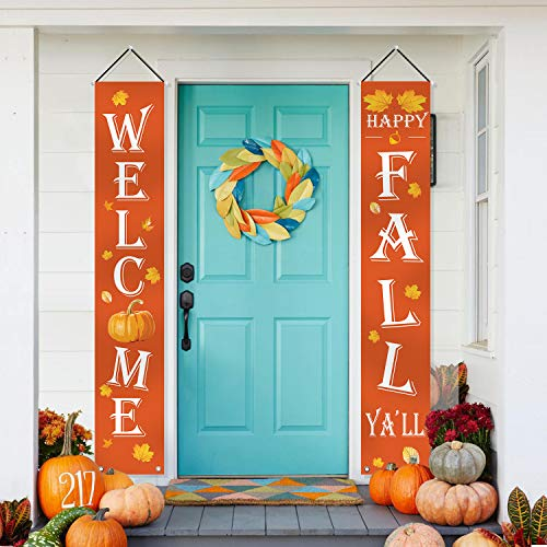 ORIENTAL CHERRY Fall Decorations – Welcome Happy Fall Yall Large Hanging Flags Signs Porch Banners – Autumn Decor for Home Door Birthday Party Yard Outdoor