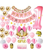 1st Birthday Girl Decorations WITH Birthday Crown,Baby Princess First Pink Gold Girls Theme Kit,Number 1 Balloons for Pink and Gold Party Supplies