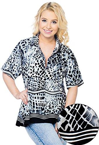 LA LEELA Women's Beach Hawaiian Shirt for Girls Button Down Up Shirt L Grey_W994