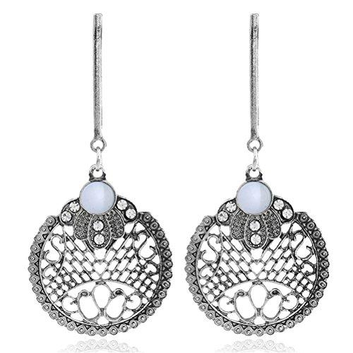 (Ancient Silver Plated Filigree Flower Leaves Dangle Earring Bohemian Style Women Fashion)