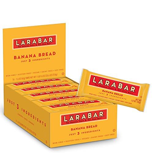 Larabar Banana Bread - LARABAR, Fruit & Nut Bar, Banana Bread, Gluten Free, Vegan, Whole 30 Compliant, 1.6 oz Bars (16 Count)