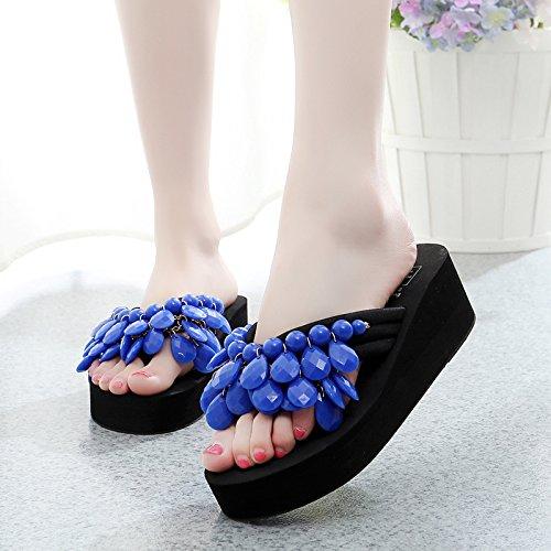 Zapatillas Señoras calzado de playa, mujer Sandalias y chanclas, moda, zapatillas antideslizante inferior grueso Blue