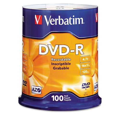 Verbatim DVD-R Discs 4.7GB 16x Spindle Matte Silver 100/Pack Archive Home Movies Efficient