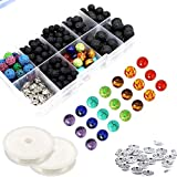 330 Pcs Lava Beads Kit,Lava Black Rock Volcanic Stone Beads for Essential Oils with Assorted Natural 8mm Chakra Beads for Jewelry Making