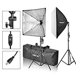 "Emart Softbox Photography Video Studio Equipment Lighting Kit, 900 Watt Continuous Photo Portrait Light System, 24"" x 24"" Softboxes"