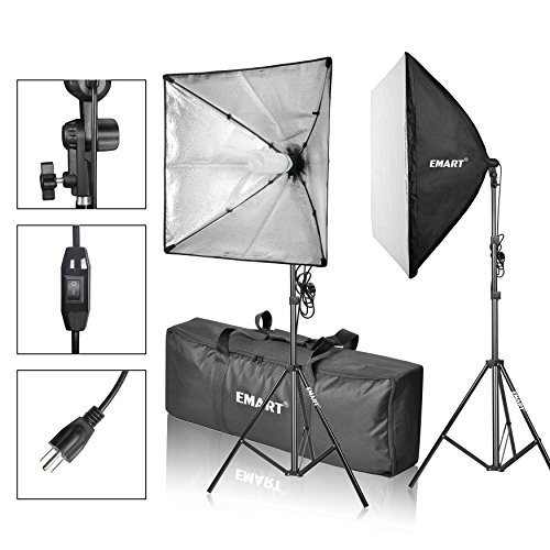 Emart Softbox Photography Video Studio Equipment Lighting Kit, 900 Watt Continuous Photo Portrait Light System, 24″ x 24″ Softboxes