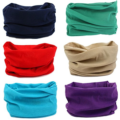 SmilerSmile 6pcs Assorted Seamless Outdoor Sport Bandanna Headwrap Scarf Wrap, 12 in 1 High Elastic Magic Headband & Collars Muffler Scarf Face Mask with UV Resistance, (Solid Color 7) (Multi Magic Scarf)