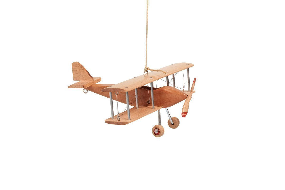 Hanging Airplane For Children Kid Room Nursery Fly Vintage Decor Beech Wooden 5''