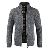 Zainafacai Thick Coat, 2018 Mens Winter Slim Thick Full Zipper Knitted Sweaters Cardigan Jacket (Deep Gray, M)