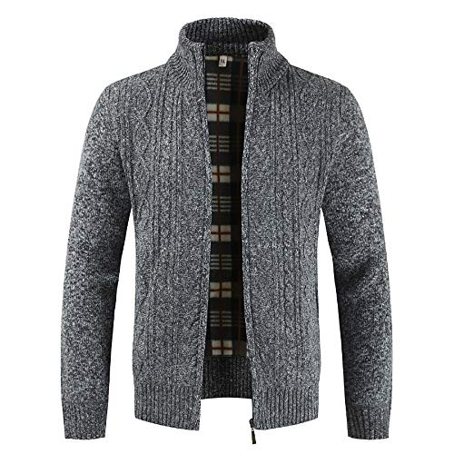 Gray Men for Coats Cardigan Zipper Collar Mens Solid Winter Sweater Give Coats koiu❀❀Winter Tops Deep Stand Outwear tpxwqtBaW
