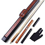 Weichster 3/4 Jointed Handmade Snooker Cue Pool Ash Shaft Black Walnut Wood with Cue Case Extension Glove (8.5mm -8.8mm)
