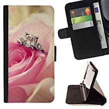 For Samsung Galaxy Note 4 IV,S-type Love Pink Rose Heart - Drawing PU Leather Wallet Style Pouch Protective Skin Case