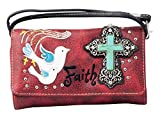 HW Collection Western Cross Doves Faith Crossbody Wristlet Clutch Small Purse Wallet (Red)
