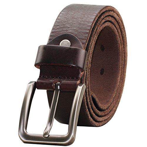 PAZARO Men's Super Soft Top Grain 100% Leather Belt Deep Brown Color - Top Grain Leather Tool