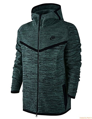 Nike Men's Tech Knit Windrunner Full Zip Jacket Black/Gray (Small) by Nike