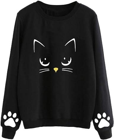 Whycat White Sweatshirt Women Graphic Print Cat Sweatshirt Sunflower Pullover Tops Cute School Girls Long Sleeve Winter Jumper Blouse T-Shirt