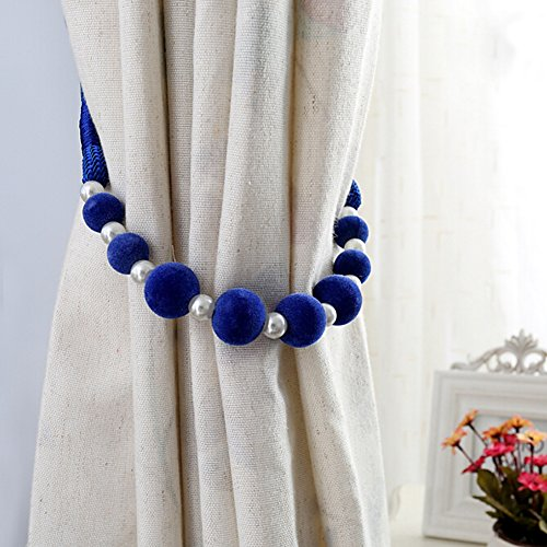 Trycooling 1 Piece Modern Pastoral Style Hand Made DIY Beaded Curtain Tiebacks Holdbacks Rope Tying (Royal Blue) - Pearl Beaded Curtain
