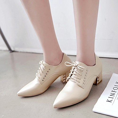 Carolbar Mujeres Pointed Toe Lace-up Moda Tacón Medio Oxfords Zapatos Beige