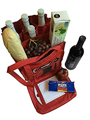 Wine and Cheese Party Tote Bag - 6 Bottle Reusable Canvas Fabric Weekend Travel Picnic Carrier-RED