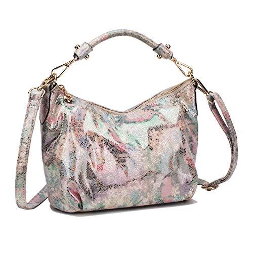 (Women's Retro Sling Shoulder Bag from Mulpac, Leather Crossbody Tote Handbag (Flower Red))