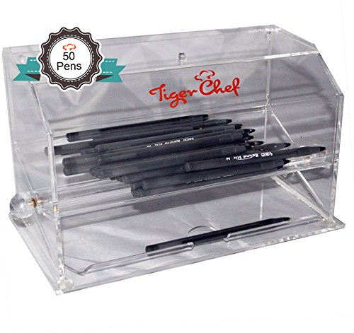 Tiger Chef Top Quality Clear Acrylic Pen dispenser includes 50 BIC Round Stic Xtra Life Ball Pens