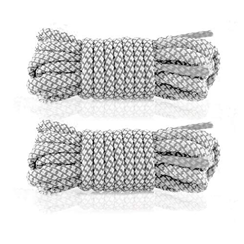 Mercury + Maia Round Shoe Laces for Sneakers and Boots - USA Made [2 Pair Pack] (Silver/White, 45 inches)