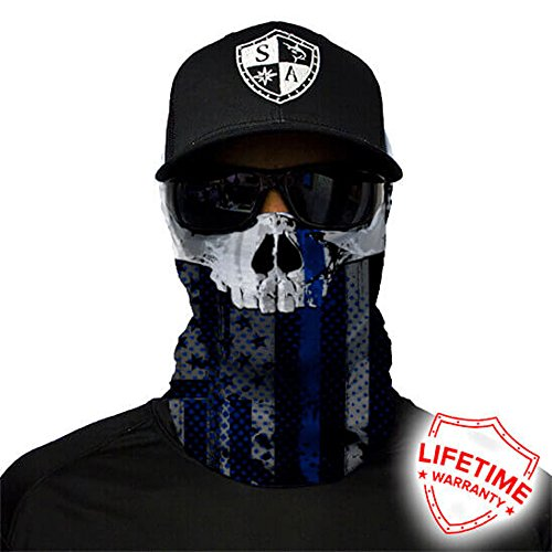 SA Company Face Shield Protect Wind, Dirt and Bugs. Keep Warm. Worn as Balaclava, Neck Gaiter, Head Band, Doo RAG For Hunting, Fishing Running, Boating Cycling and Salt Lover - Thin Blue Line Skull Line Ski Clothing