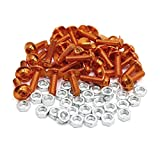 uxcell 35pcs M6 Orange Aluminum Alloy Hex Socket Head Motorcycle Bolts Screws Nuts